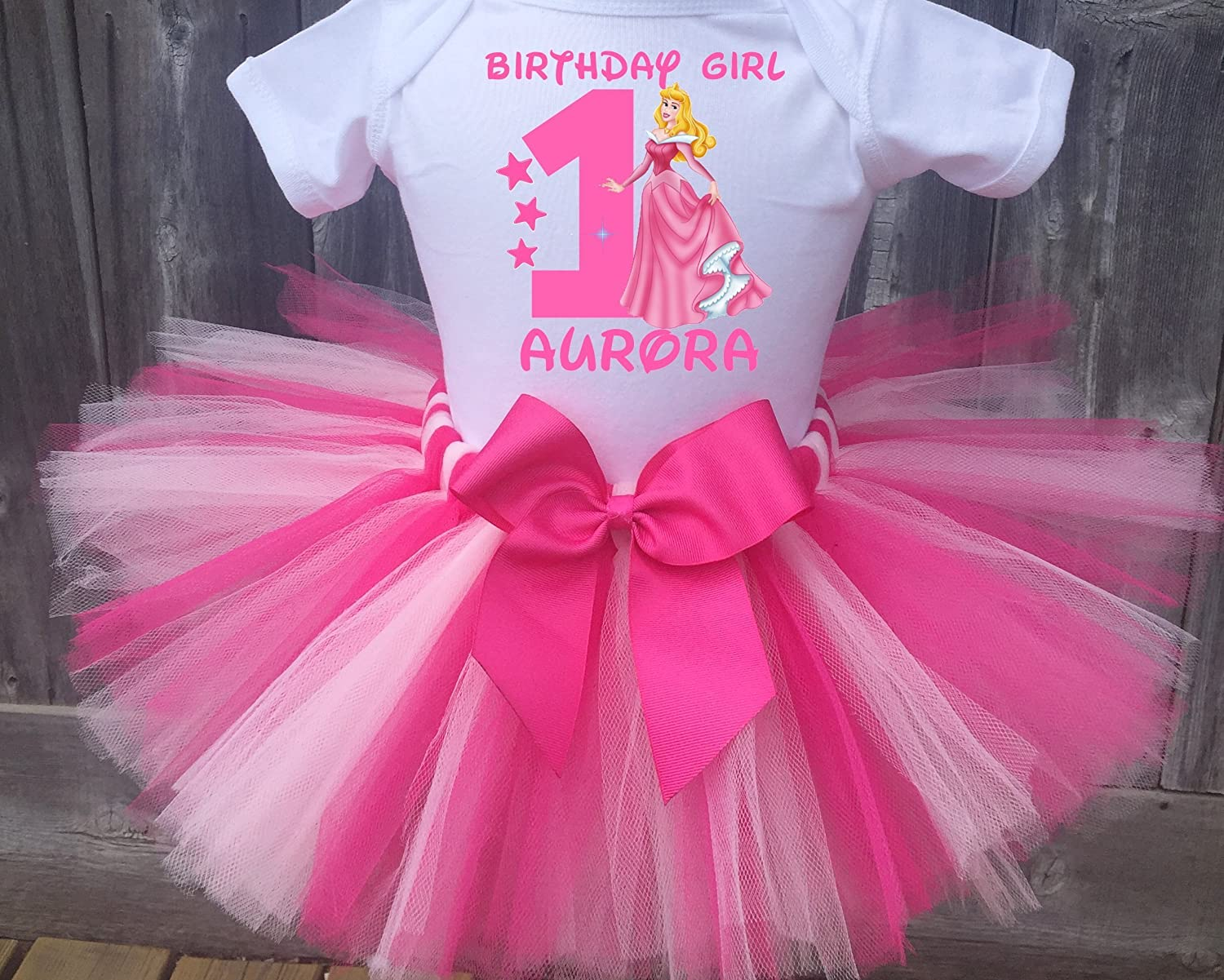 f6ddee092a787 Personalized Sleeping Beauty Aurora birthday tutu outfit. Comes as shown  with Hot Pink and Light Pink tutu and a Hot Pink detachable sash bow.