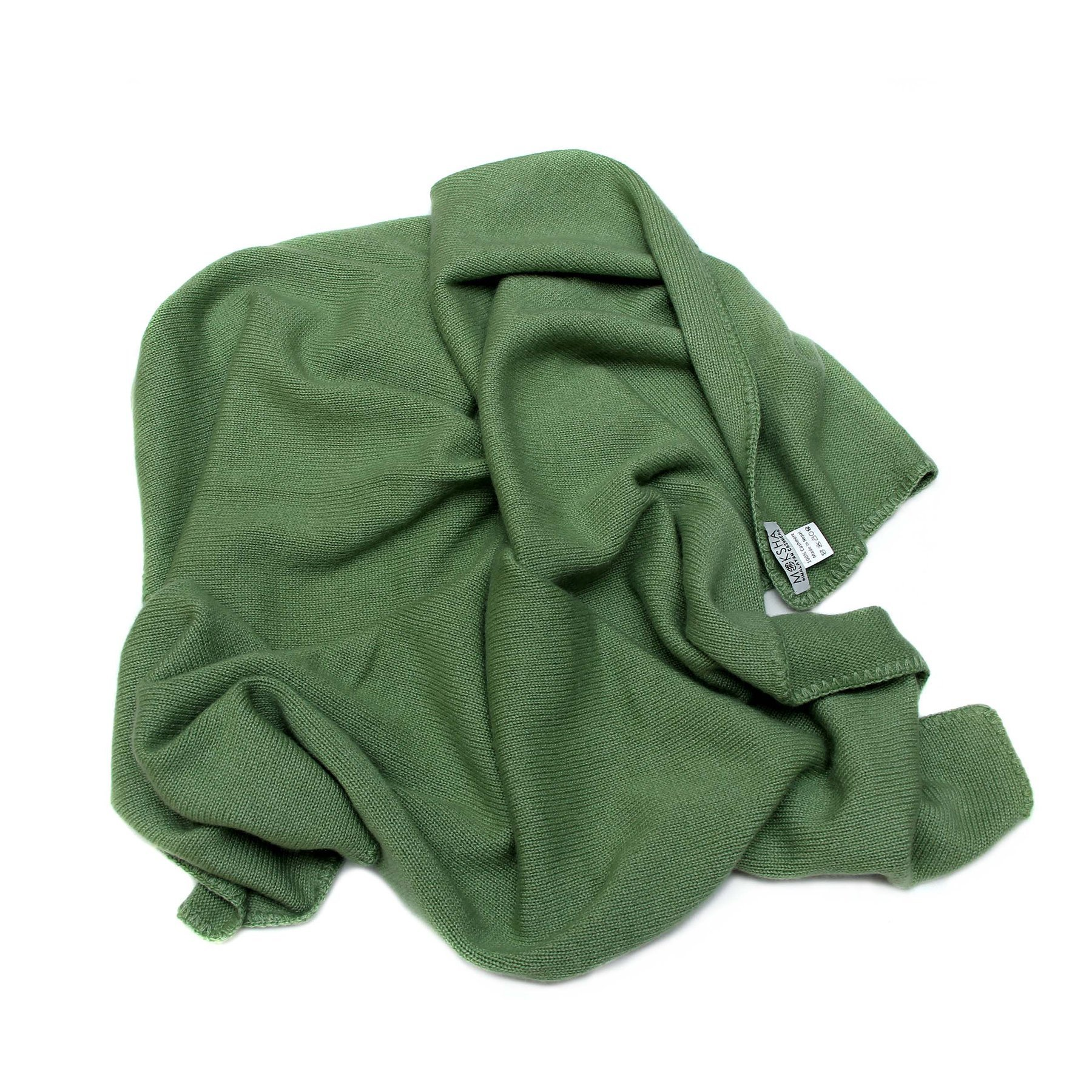 100% Cashmere Baby Blanket, 4 Ply Mongolian 26/2 Yarn Cashmere, Hand-Knitted, Green © Moksha Cashmere by Moksha Cashmere
