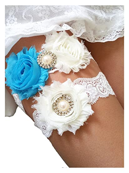 785f68538 Amazon.com  Ivory Beach Blue Lace Wedding Garter Set with Pearl    Rhinestone   Bow Prom Gift  Home   Kitchen