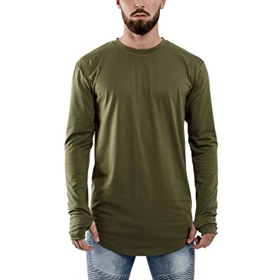 Phoenix Oversized Longline Round Longsleeve T-Shirt Mens Long-sleeved Elongated Tee Curved Hem - S M L XL