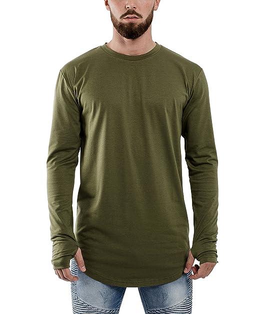 7723d4bc1703 Blackskies Round Long Sleeve Basic Men's Longline T-Shirt | Oversized  Curved Hem Sweater L/S Long Tee - Olive Green Large L: Amazon.ca: Clothing  & ...