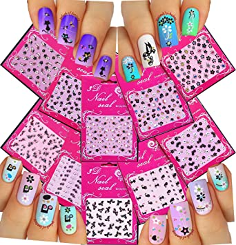 Amazon Adorable Nail Art 3d Stickers Decals With Rhinestones
