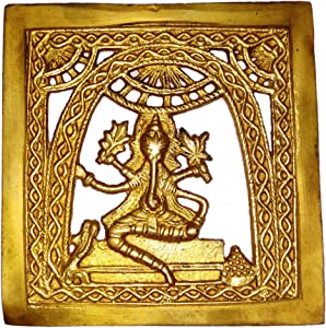 Purpledip Brass Wall Hanging Plaque Vignaharta Ganesha: Dokra Craft Tribal Art Decor Statue (11440)