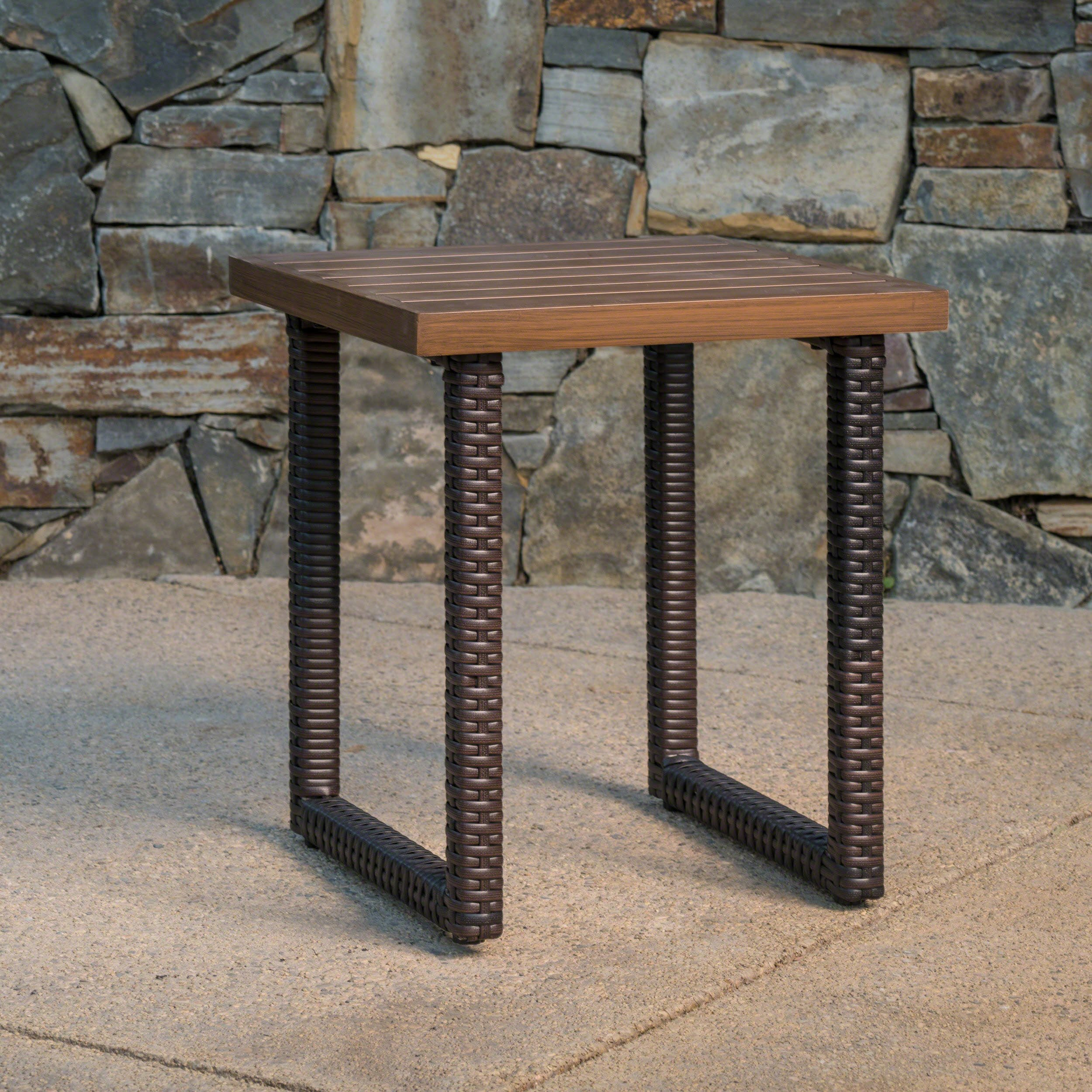 Lunder Outdoor Multibrown Finished Aluminum Side Table with Multibrown Wicker Legs