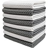 Polyte Ultra Premium Microfiber Kitchen Dish Hand Towel Waffle Weave, 8 Pack (16x28 in, Gray, White)