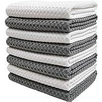 Polyte Ultra Premium Microfiber Kitchen Dish Hand Towel Waffle Weave, 8 Pack (40 x 71 cm, Gray, White)