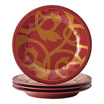 Rachael Ray Dinnerware Gold Scroll 4-Piece Salad Plate Set Cranberry Red  sc 1 st  Amazon.com & Amazon.com   Rachael Ray Dinnerware Gold Scroll 4-Piece Salad Plate ...