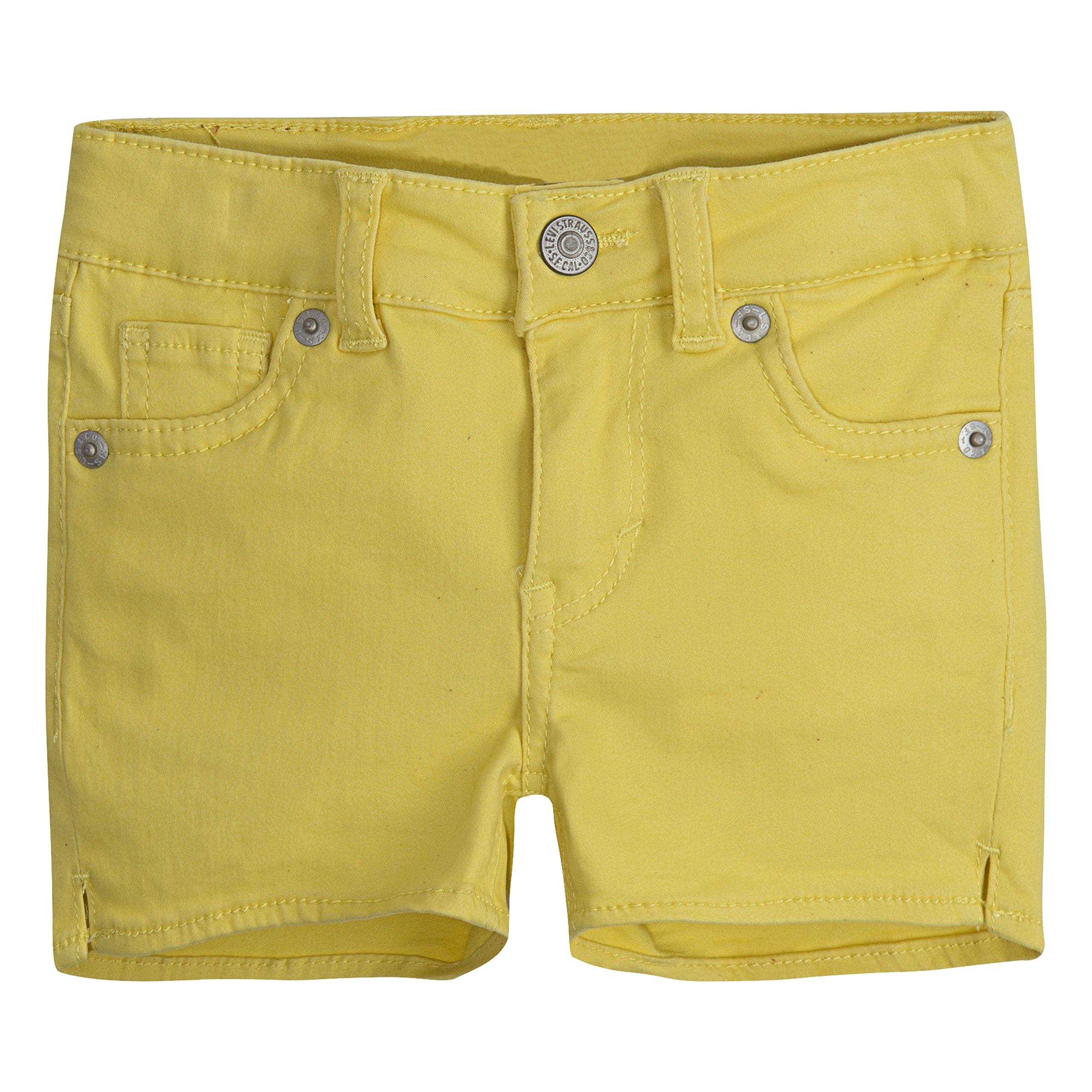 Levi's Girls' Toddler Soft Brushed Shorty Shorts, Yellow Cream, 2T