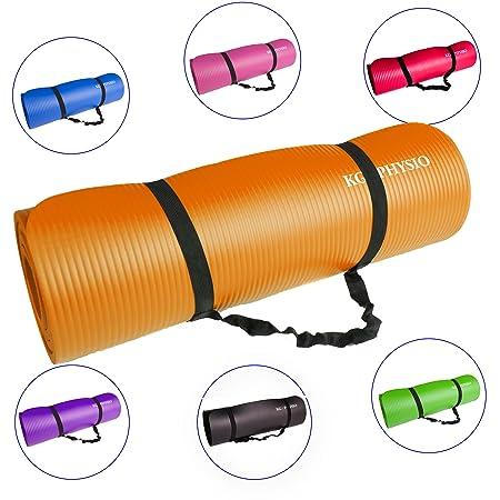 KG Physio Tapis de yoga antidérapant avec sangle de transport, fabriqué à partir de caoutchouc nitrile - Extra épais : 12 mm