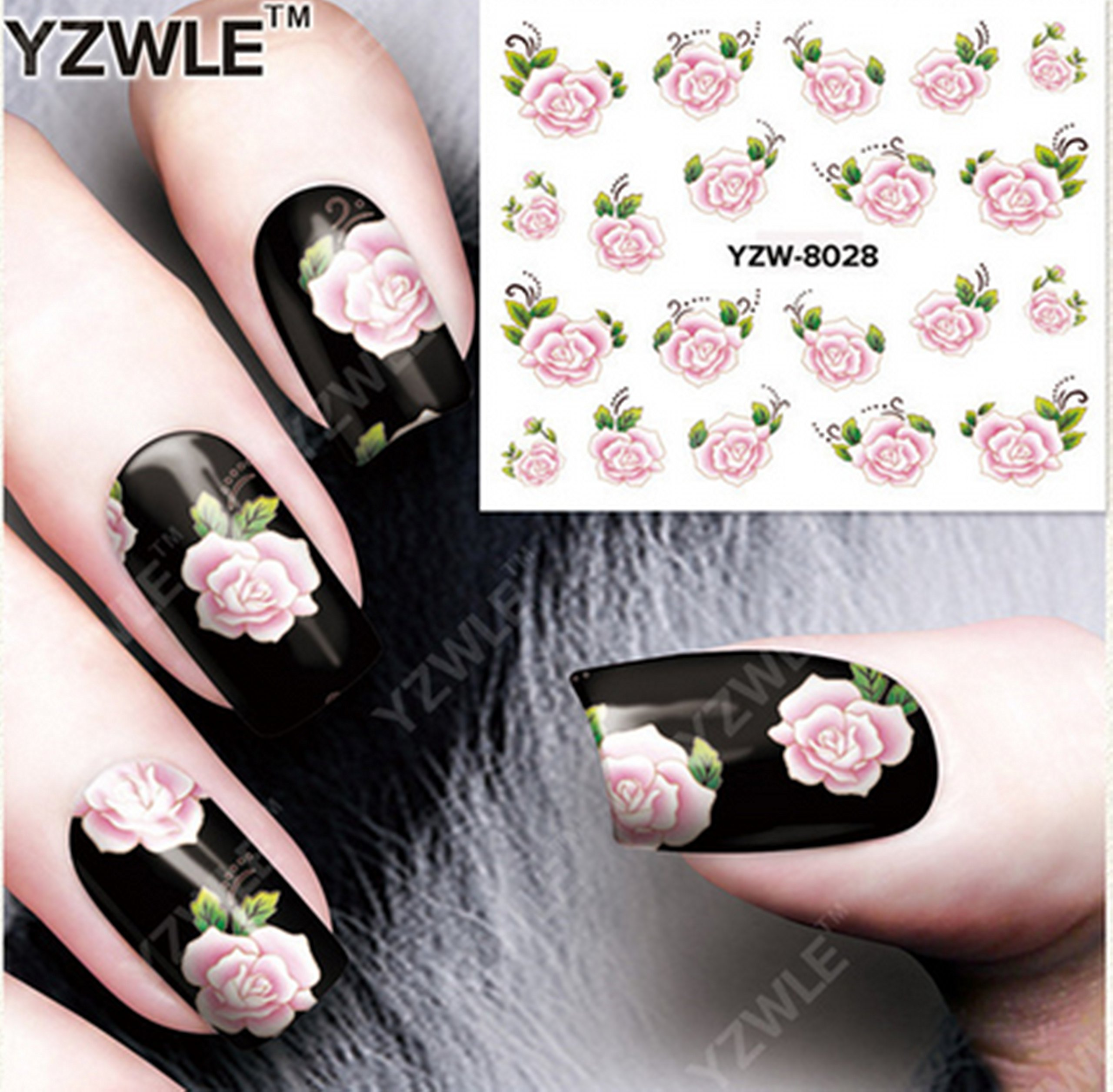 Amazon.com: Pink Rose Flowers Nail Art Stickers Water Transfer ...