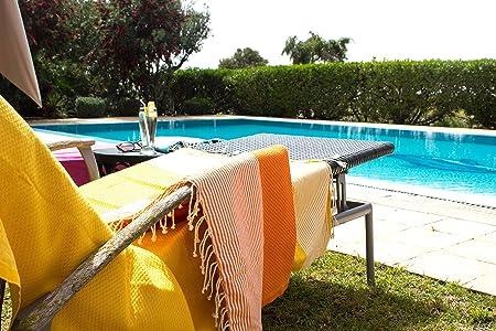 Anna aniq Premium Fouta Toalla de sauna XXL Extra Grande 197 x 100 cm - 100% algodón de Túnez como paño de playa, orientales de baño de toalla, picnic, ...