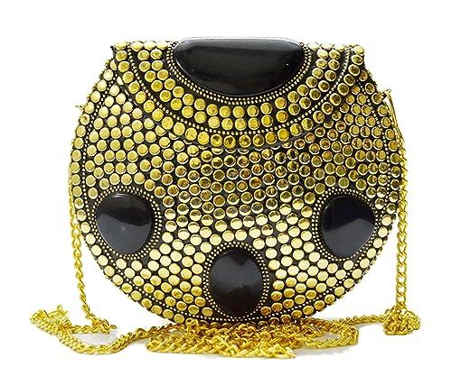 Bolsa de metal étnico Bolso Golden Sling para el embrague del partido de las mujeres Embragues