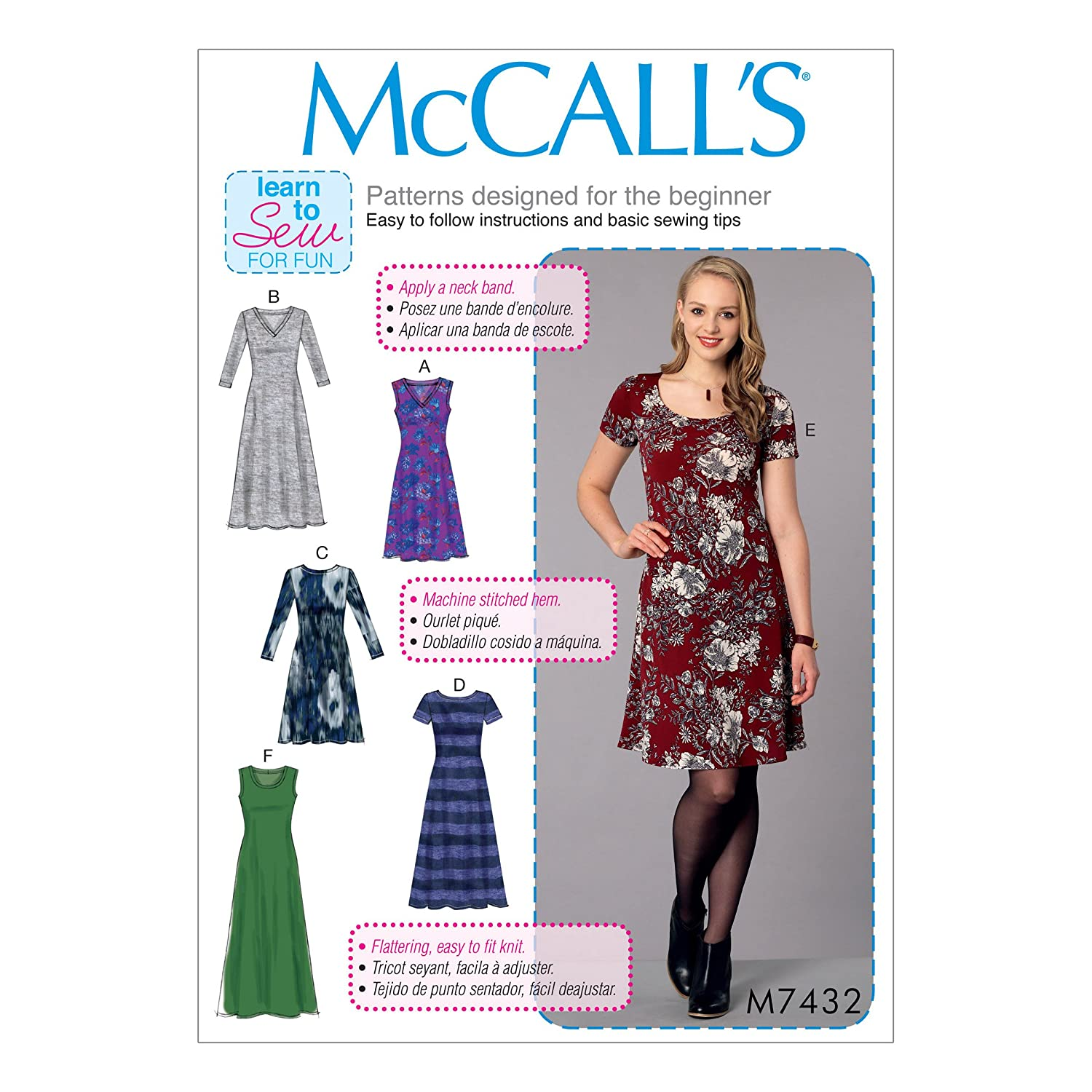 Amazon.com: McCall Patterns M74320Y0 Misses Knit Dresses with V/Crew Or Scoop Necklines