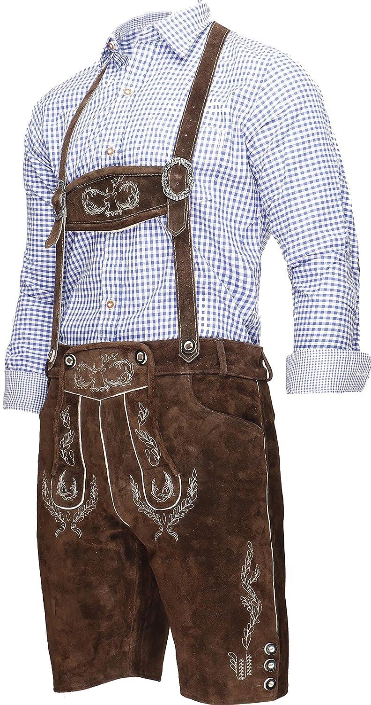46-60 Crone Ludwig Herren Trachtenlederhose Original Bayerische Lederhose Tracht Trachtenhose Oktoberfest Wiesn in vielen Farben von Gr