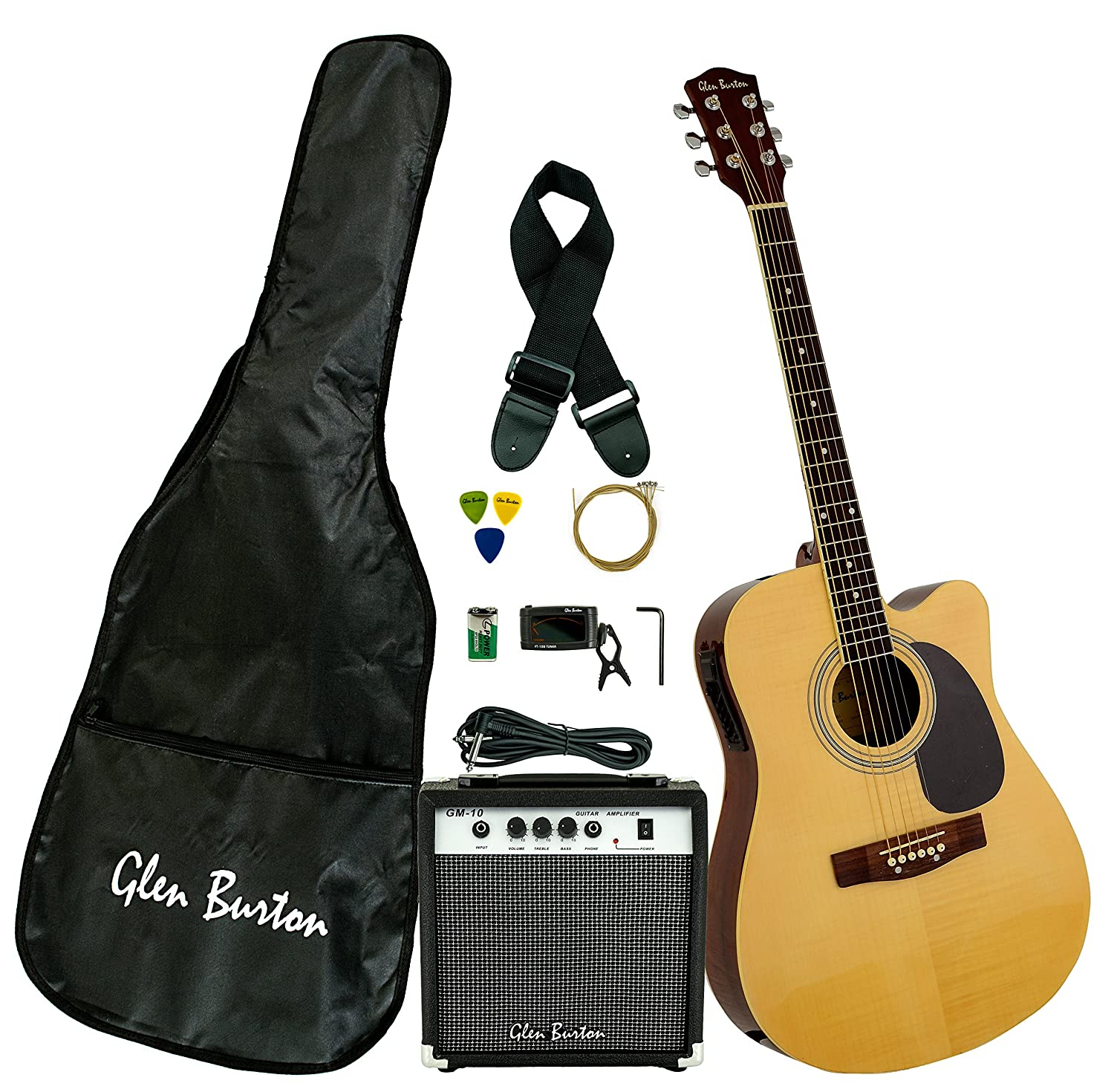 Glen Burton GA204BCO-BK Acoustic Electric Cutaway Guitar, Black Bridgecraft