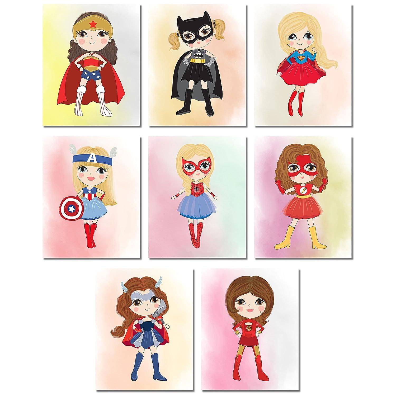 Cute Superhero Girls Wall Art Prints - Set of eight 8x10 SuperGirl Bedroom Playroom Photos