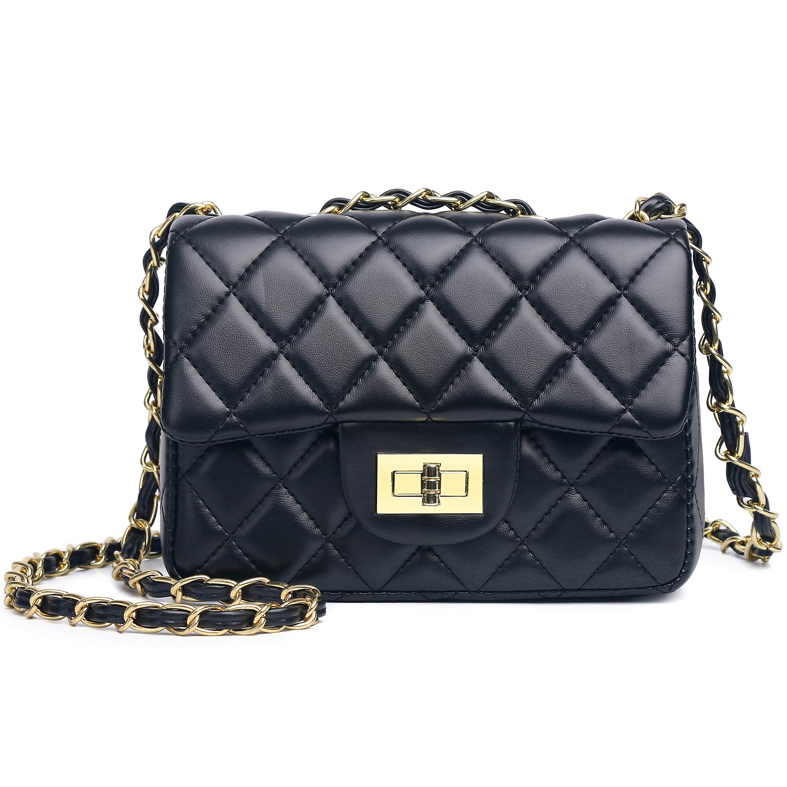Volcanic Rock Women's Quilted PU Leather Cross-body Bag Girls Purse and Handbags with Chain Small Messenger Bag (919 Black)