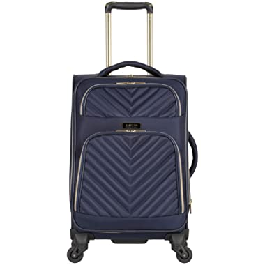 Kenneth Cole Reaction Women's Chelsea 20  Softside Chevron Quilted Expandable 4-Wheel Spinner Carry-On Suitcase, Navy