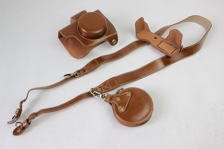Mini Storage Bag Black Neck Strap EM10 Mark III Case BolinUS PU Handmade Leather FullBody Camera Case Bag Cover for Olympus OM-D E-M10 Mark III with 14-42mm lens Bottom Opening Version