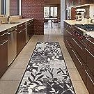"Diagona Designs Contemporary Floral Patchwork Design Non-Slip Kitchen / Bathroom / Hallway Area Rug Runner, 20"" W x 59'' L, Ivory / Grey / Black"