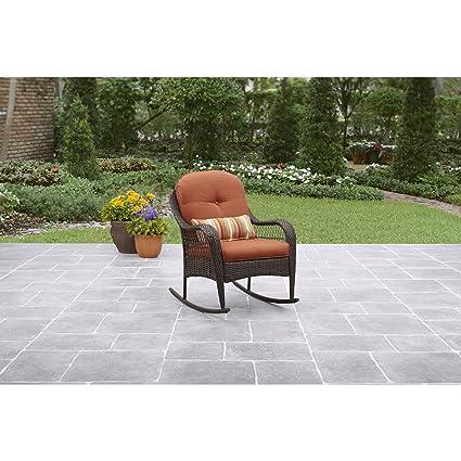 Amazon Com Better Homes Gardens Outdoor Rocking Chair In Burnt
