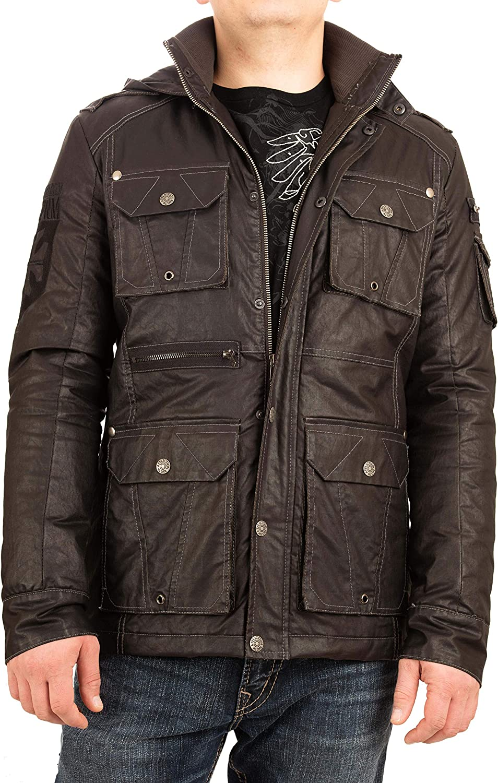 Affliction Men Coat Snap Pockets Hood Zipper Front Black
