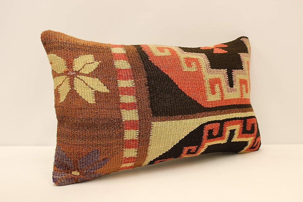Throw pillow cover 12x20 inches 30x50 cm Sofa cushion Turkish kilim pillow Vintage red pillow Boho chair cushion I-1682