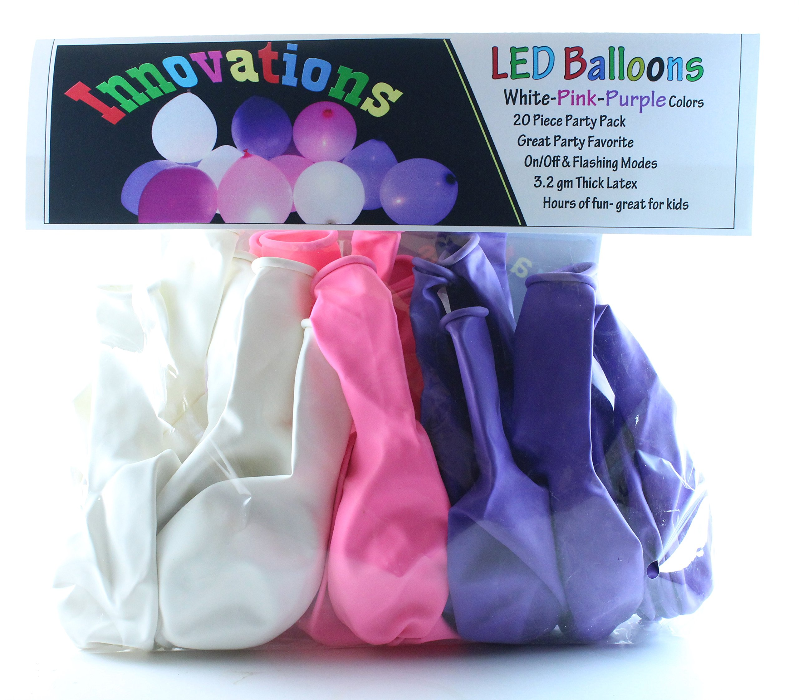 Innovations LED Balloons 20 Pack with White Pink Purple Balloons, Featuring On/Off or Flashing LED Balloon Lights– The Ultimate Lighted Flashing Balloons for a Memorable Occasion (WhitePinkPurple)