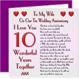 Wife 10th Wedding Anniversary Card With Removable Magnet