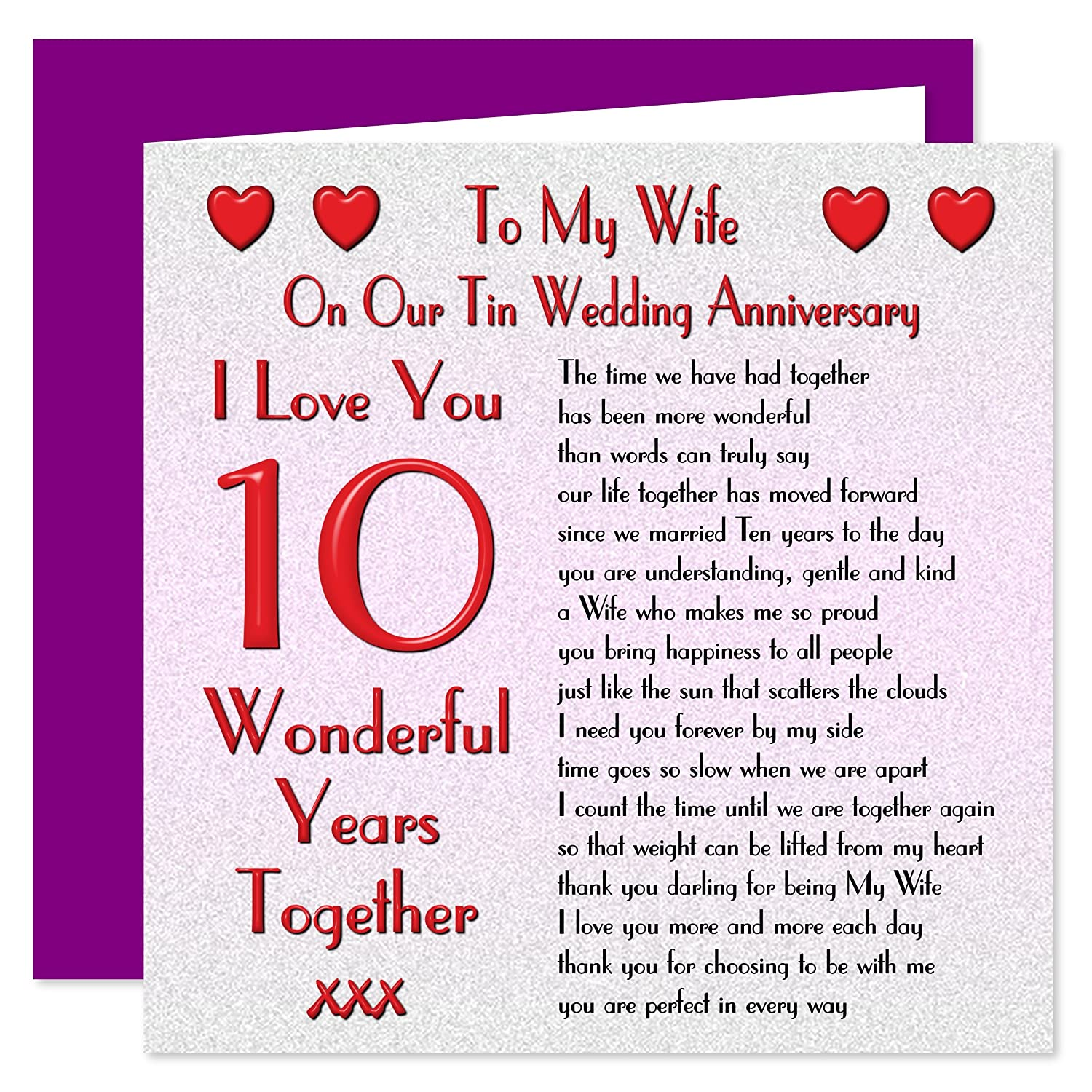 My Wife 10th Wedding Anniversary Card - On Our Tin Anniversary - 10 Years -  Sentimental Verse I Love You