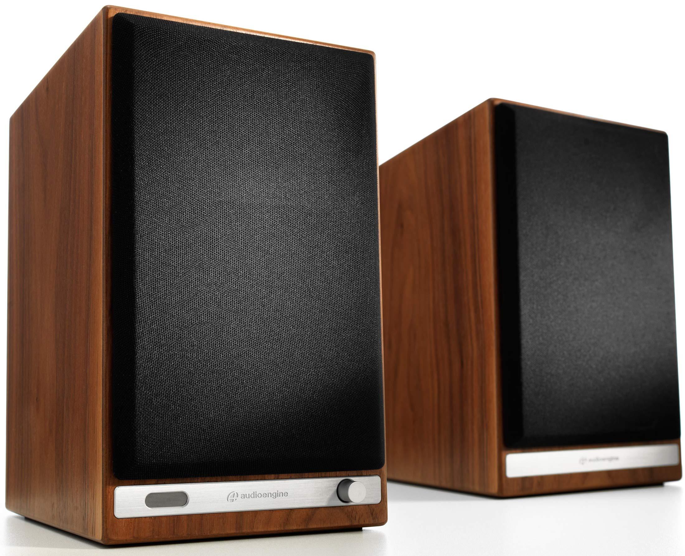 Audioengine HD6 Wireless Speakers, Powered Bluetooth Speakers (Pair) Walnut