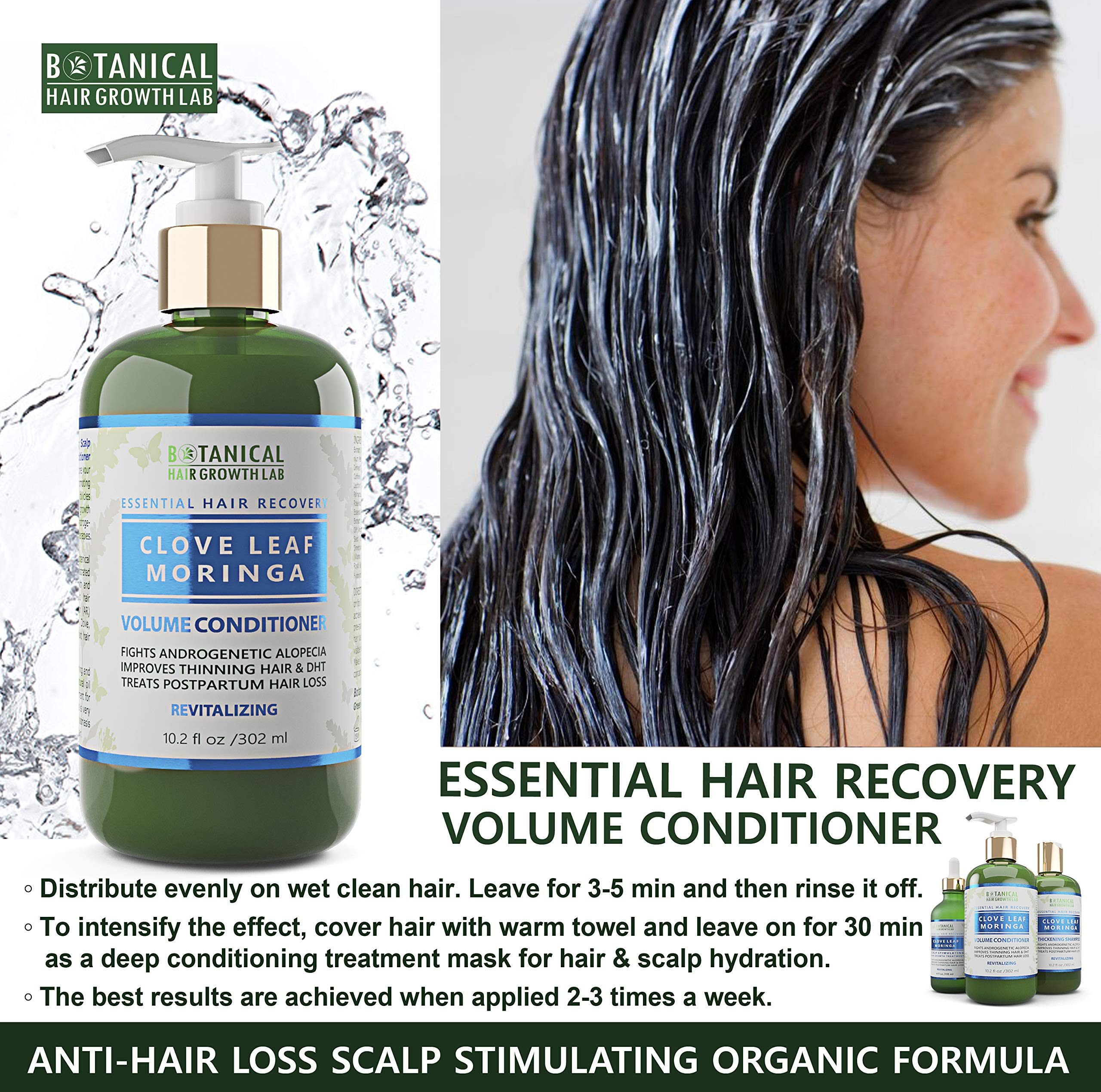 Botanical Hair Growth Lab Biotin Conditioner - Clove Leaf Moringa Formula - Anti Hair Loss Complex - DHT Blockers, Sulfate Free, Natural Ingredients for Men & Women by BOTANICAL HAIR GROWTH LAB (Image #3)