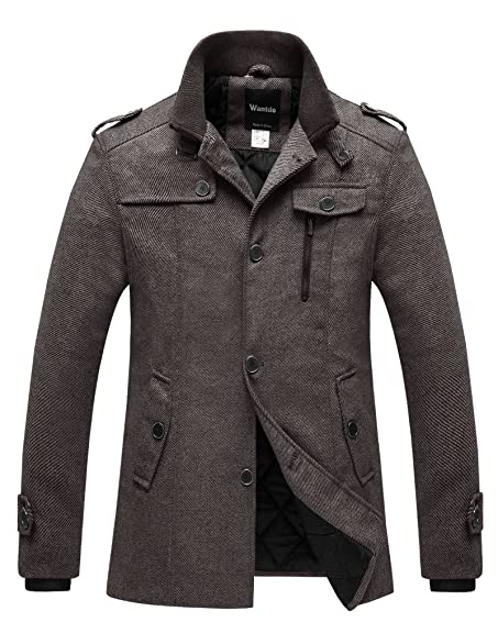 WantDo Men's Winter Pea Coat Single Breasted Thicken Warm Military ...