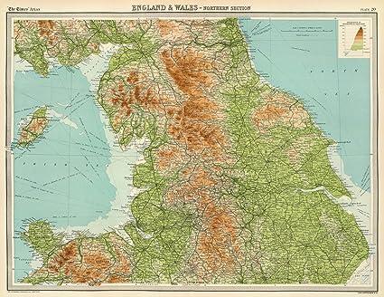 Atlas Map Of England.Amazon Com World Atlas 1922 England Wales Northern Section