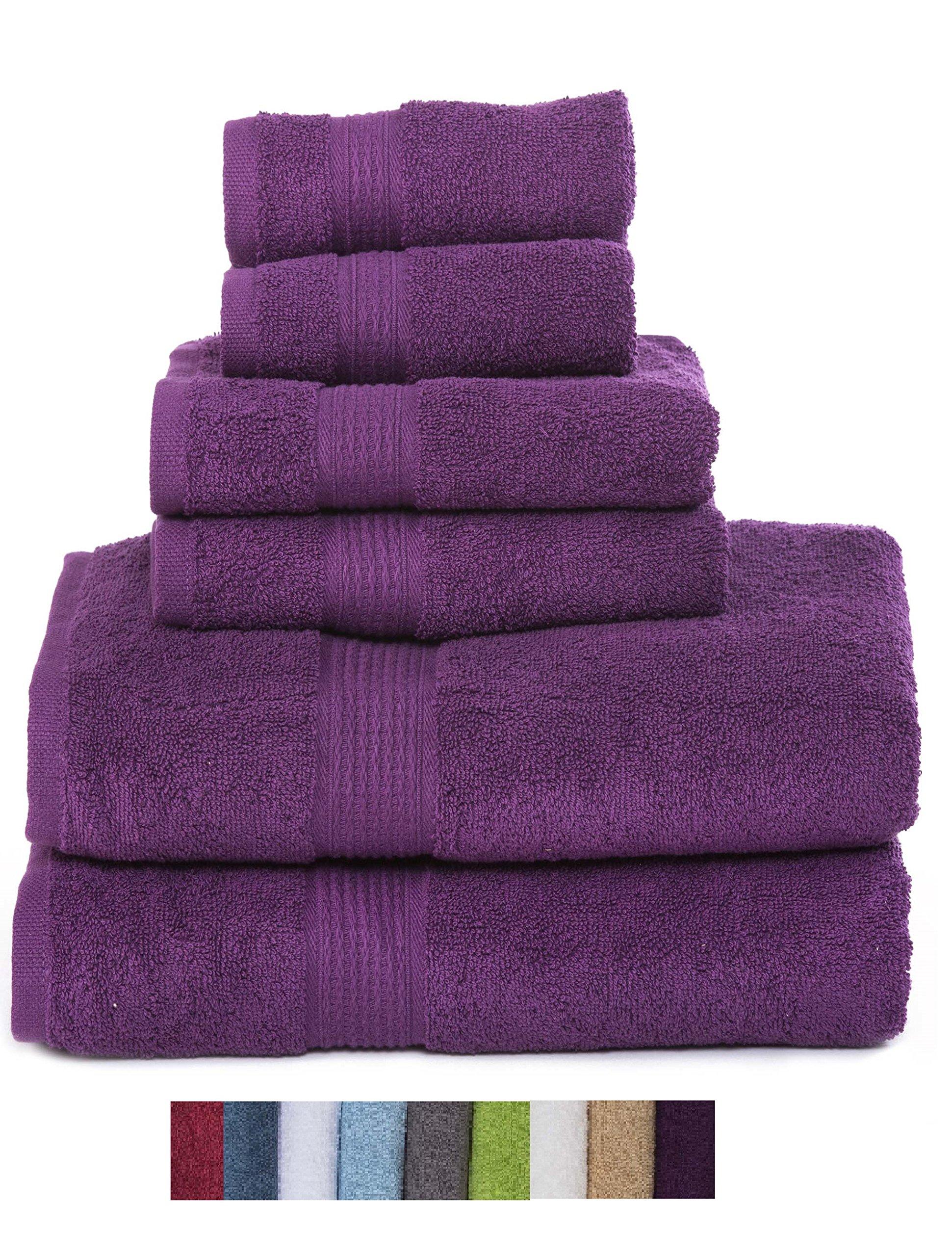 Hydro Basics Fade-Resistant 6-Piece Cotton Towel Set, 100% Cotton terry bathroom set, Soft, Absorbent, Machine Washable, Quick Dry (plum)