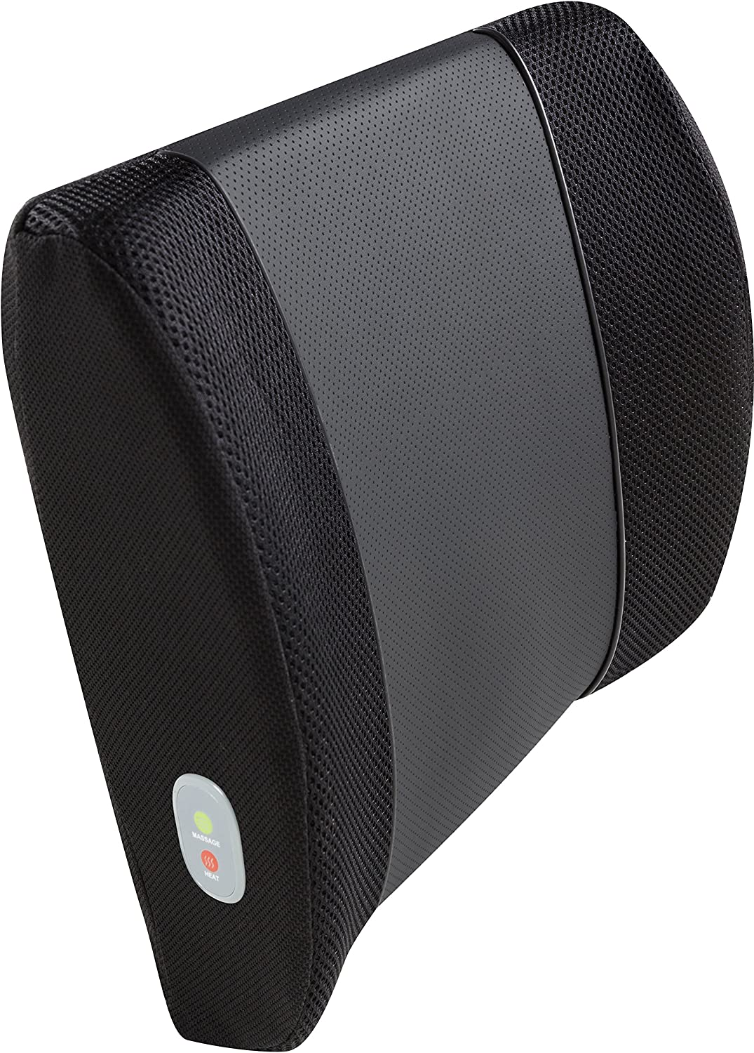 Relaxzen 3D Mesh and PU Massage Lumbar Support Cushion with Heat, Black