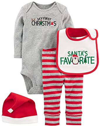 4e7d22199 Simple Joys by Carter's Baby 4-Piece My First Christmas Set, Grey Santa,