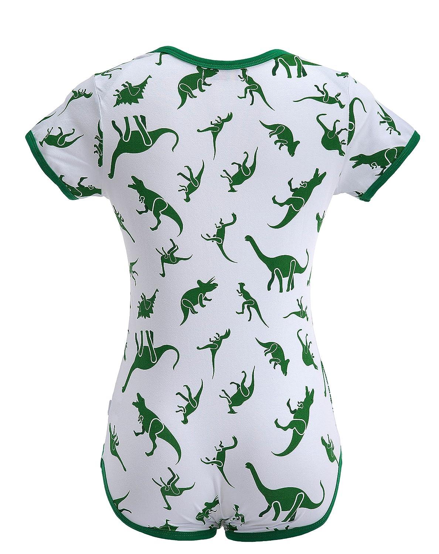 Strampler Druckkn/öpfe im Schritt LittleForBig Erwachsene Baby Einteiler Windel-Liebhaber Schlafanzug -Dinosaurier Muster ABDL