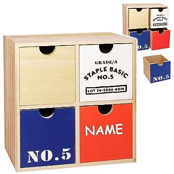 Holz Schubladenbox Holzbox Aufbewahrungsbox Schubladenschrank mit 4 Schubladen