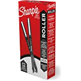 Sharpie Rollerball Pen, Needle Point (0.5mm) Precision Pen, Black Ink, 12 Count