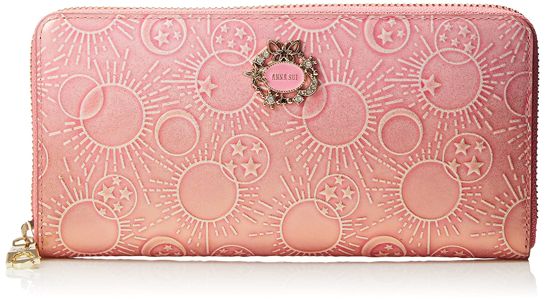 45973a24ff8e [アナ スイ]長財布 【新色】 ガラクシア B07CV23XDS ピンク ピンク ラウンドファスナー-財布