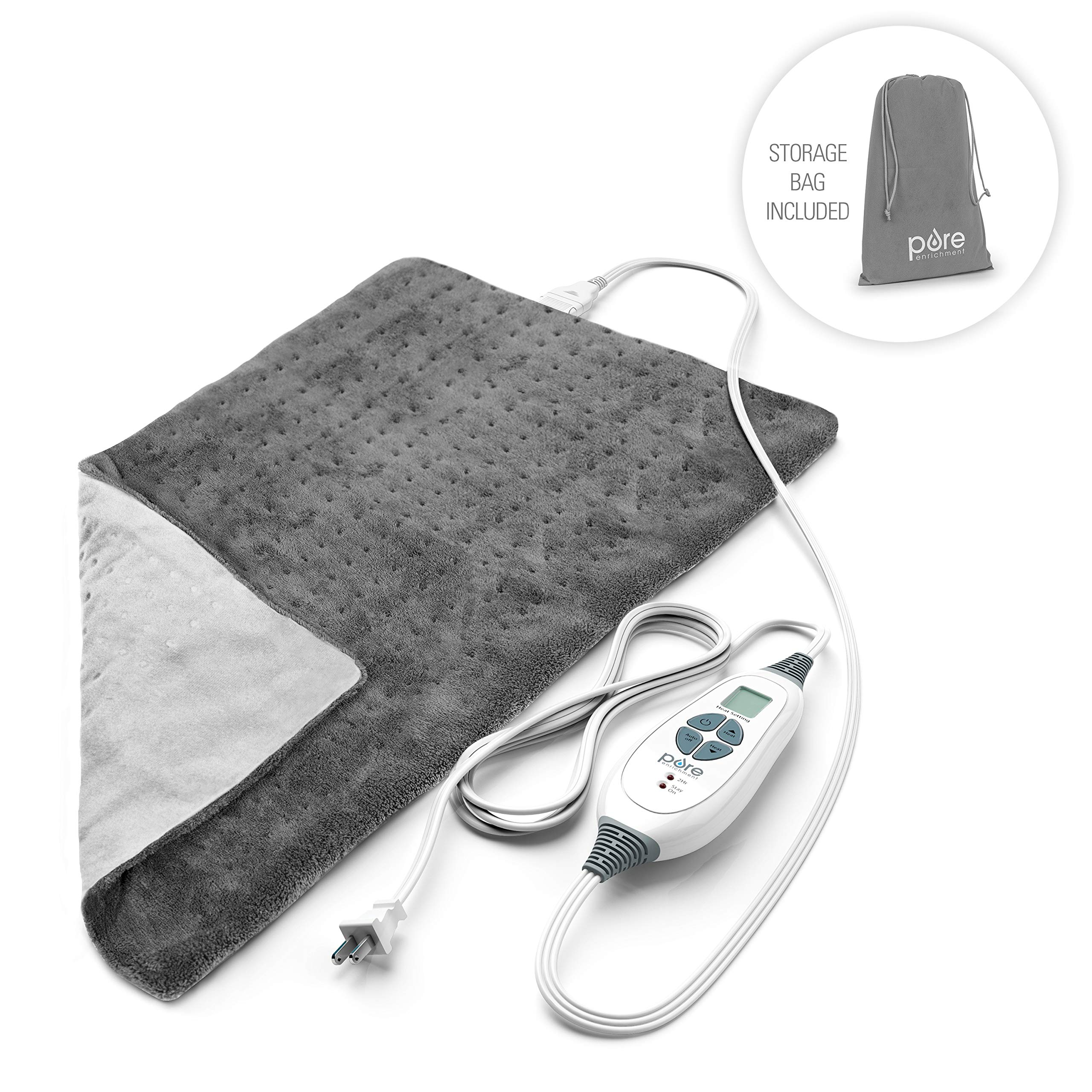 Pure Enrichment PureRelief XL King Size Heating Pad (Charcoal Gray) - Fast-Heating Machine-Washable Pad - 6 Temperature Settings, Moist Heat Therapy Option, Auto Shut-Off and Storage Bag - 12'' x 24'' by Pure Enrichment
