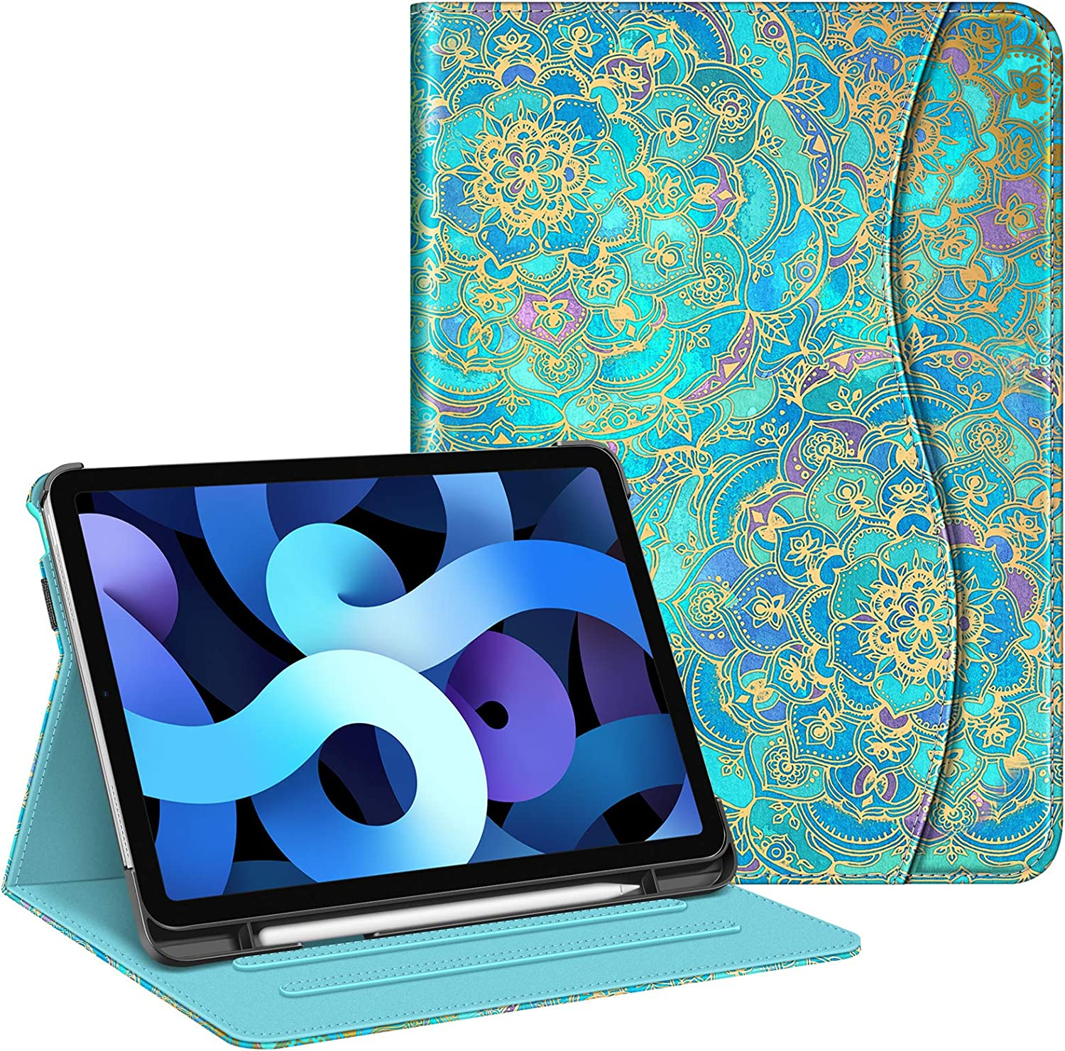 Fintie Case for iPad Air 4 10.9 Inch 2020 with Pencil Holder, Multi-Angle Viewing Cover [Supports Pencil 2nd Gen Charging] with Pocket, Auto Sleep/Wake for iPad Air 4th Generation, Shades of Blue
