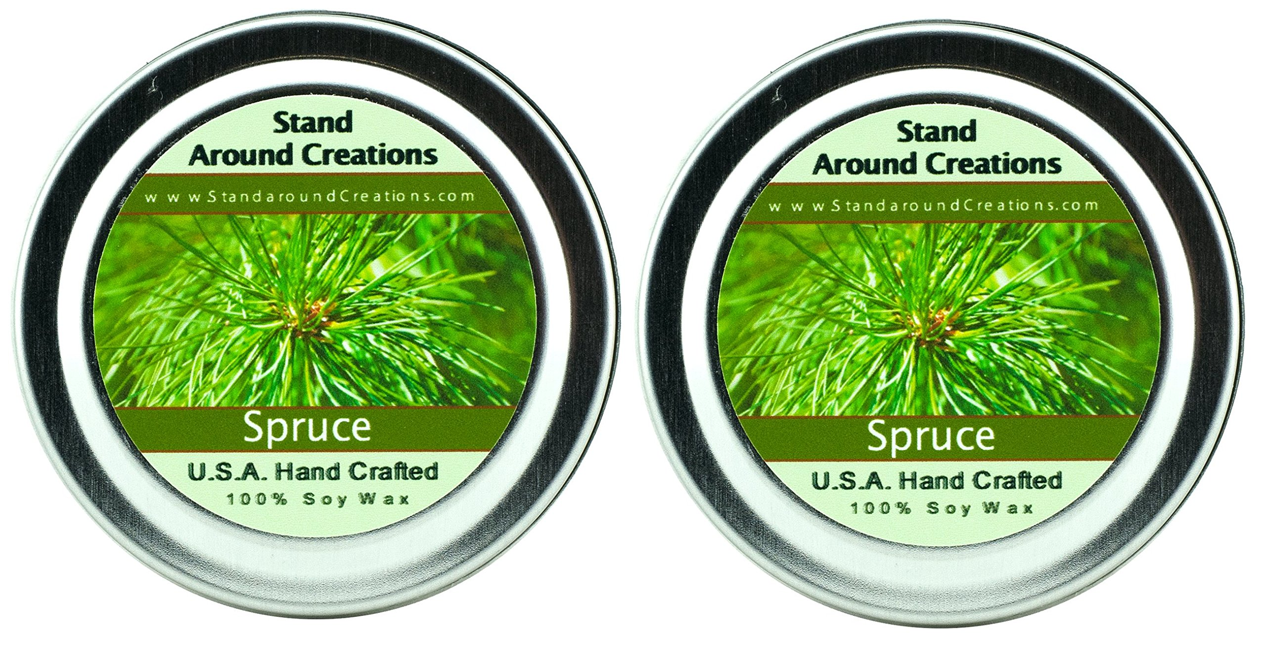 Premium 100% Soy Candles- Set of 2 - 2 oz Tins Spruce: The scent of Frasier or Douglas Fir .Made w/ pine essential oils.