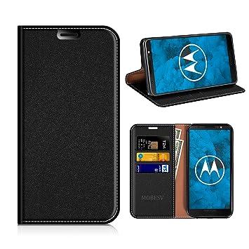 MOBESV Funda Cartera Moto G6, Funda Cuero Movil Moto G6 Carcasa Case con Billetera/Soporte para Motorola Moto G6 - Negro