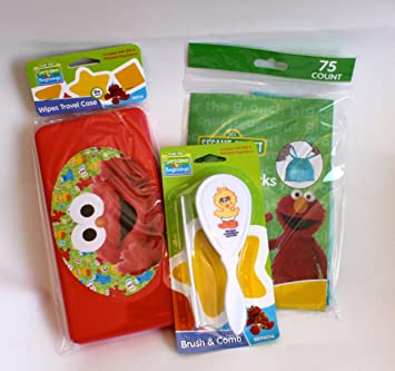baby brush and comb set and wipes travel case sesame street