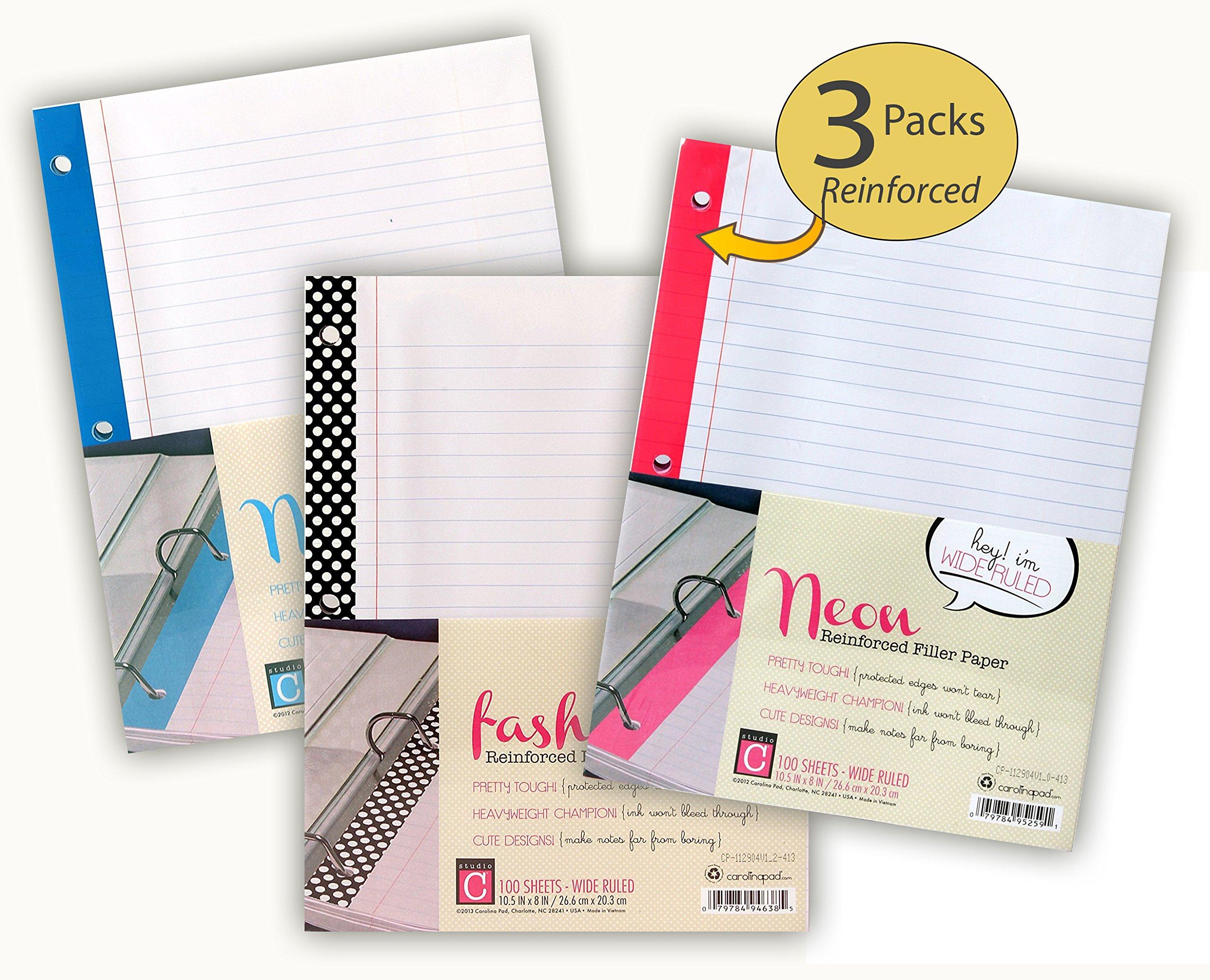 Set of 3 Packs - Reinforced Filler Paper - Loose Leaf Paper Wide Rule - 300 Sheets Total - Bulk Assortment of 3 Fashion Designs