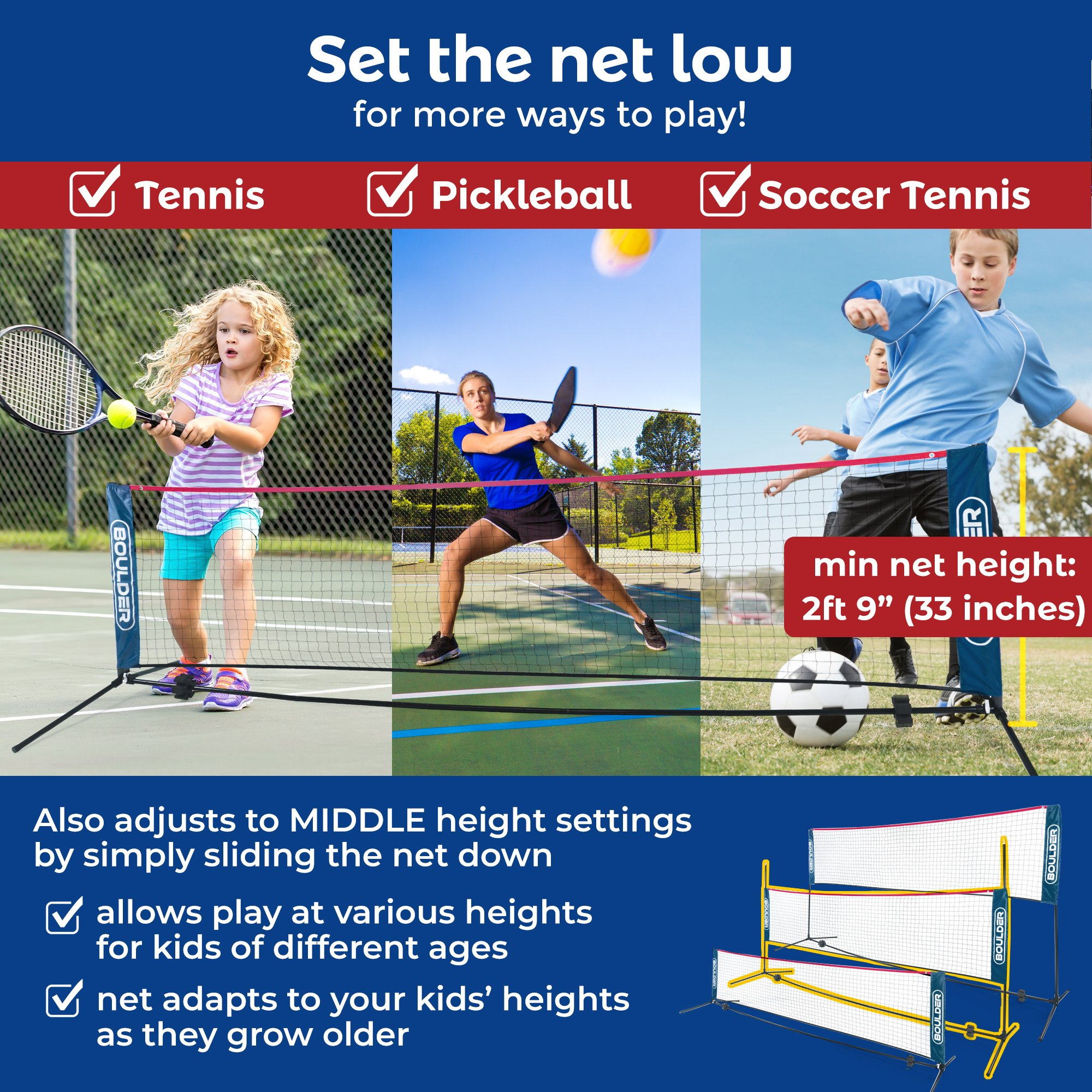 Boulder Portable Badminton Net Set - 10-Ft Net for Tennis, Soccer Tennis, Pickleball, Kids Volleyball - Easy Setup Nylon Sports Net with Poles - for Indoor or Outdoor Court, Beach, Driveway by Boulder (Image #2)
