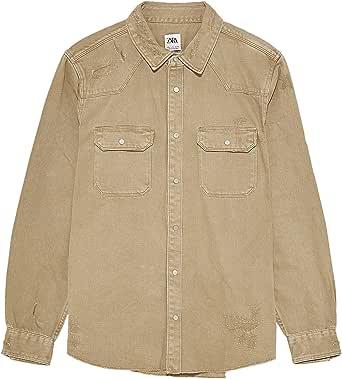 Zara 2631/350/707 - Camisa Vaquera para Hombre Beige S ...