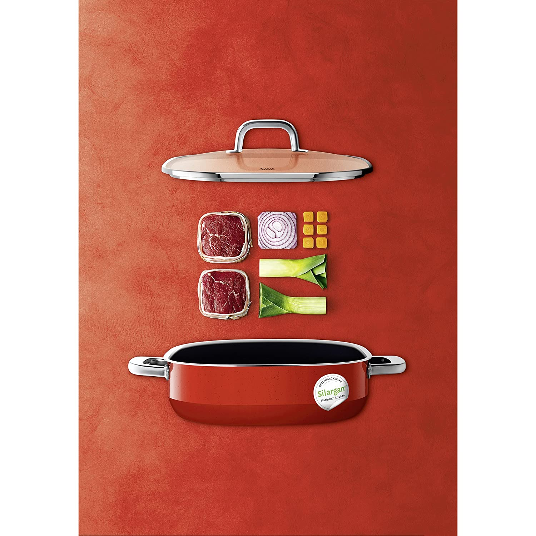 induktionsgeeignet hoher Rand stapelbar rot quadratisch mit Glasdeckel Silit Quadro Red Schmor-// Bratpfanne 26 x 26 cm Silargan Funktionskeramik